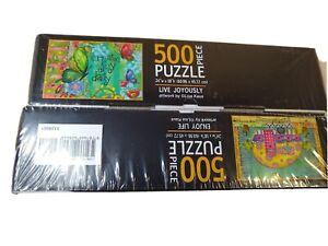 Lang 2 Puzzles  500 Piece  24 X 18 inch   New Live Joyously  & Enjoy Life