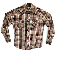 Vintage Wrangler Wrancher Mens Medium Plaid Flannel Pearl Snap Western Shirt