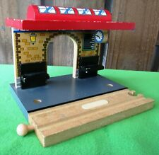 Brio Compatible Wooden Railway Train Station With Track That Makes Train Sounds