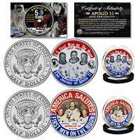 APOLLO 11 1st Man on Moon JFK Half Dollar 2-Coin Set '69 Astronaut Button Design