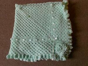 MINT 40 INCHES HAND CROCHET PHOTO PROP BABY, REBORN, NEW BABY BLANKET, SHAWL