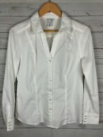 White House Black Market Women's Button Front Career Collared Blouse Size 12