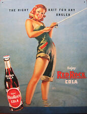 Red Rock Cola Girl Tin Metal Sign,Bait For Any Angler,Pin Up,Ad,Made In USA