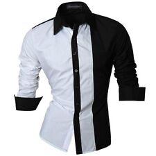 Luxury Men's Stylish Casual Dress Shirt Slim Fit T-Shirts Formal Long Sleeve