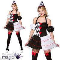 LADIES QUEEN OF HEARTS HARLEQUIN JESTER FAIRYTALE HALLOWEEN FANCY DRESS COSTUME