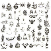 50PCS/Set Bulk Lots Tibetan Silver Mix Halloween Pendants Charms Jewelry DIY