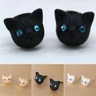 Women Fashion Jewelry Black Gold Silver Cat Crystal Rhinestone Ear Stud Earrings