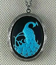 PEACOCK Turquoise color on Black CAMEO LOCKET NECKLACE - Antique Silver Plated