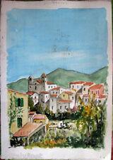 Acquerello '900 su carta Watercolor-Paesaggio Paese di montagna- (128)