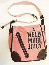 JUICY COUTURE Messenger Cross Body Handbag ~ Pink Velour & Brown Leather ~ MINT