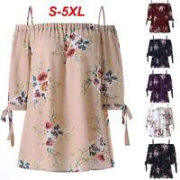 Cold Shoulder Plus Size Tops Blouse Women T-Shirt Floral Printed Short Sleeve