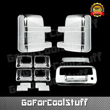 For 2008-16 Ford F250 F350 SuperDuty 4 Door +Mirror+Tailgate w/kh Chrome Cover