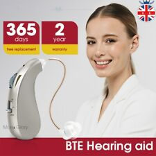 More details for digital hearing aid rechargeable adjustable sound voice amplifier behind ear uk