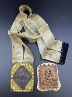 2 mal sehr altes Skabulier, Stoff, Klosterarbeit um 1800