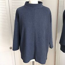 Nutmeg Ribbed Jumper Size 14 Blue High Neck 3/4 Sleeve Casual Autumnal Pullover