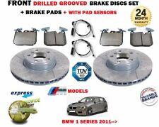 FOR BMW 114 116 118 120 125 2011-> FRONT DRILLED BRAKE DISCS SET + PADS + SENSOR