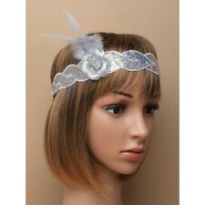 NEW Silver sequin browband bandeaux with rose and feather headband hair