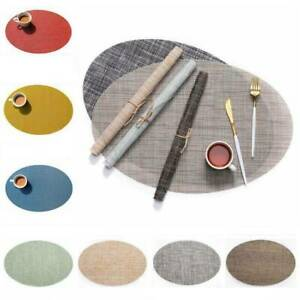 PVC Oval Solid Heat Insulation Placemat Kitchen Non-Slip Table Mat Hotel Home
