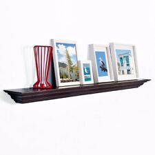 """WELLAND 48"""" Crown Molding Floating Wall Shelf Painted Espresso / Fireplace Photo"""