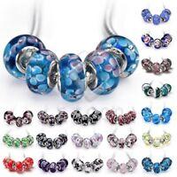 5pcs Silver Murano Glass Loose Bead Lampwork Fit European Charm Bracelet Lots BM