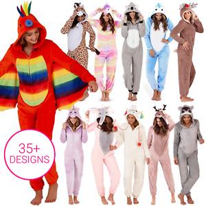 Ladies 1Onesie Womens All In One Pyjamas Hooded Pajama Set Fleece Girls Animal