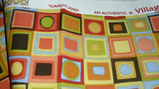 Village Candyland upholstery fabric retro magic squares bright multi 14 yd