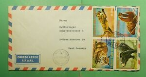 DR WHO 1977 EQUATORIAL GUINEA MALABO AIRMAIL TO GERMANY ANIMAL COMBO  g12961