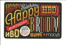 Macy's Happy Birthday Gift Card No $ Value Collectible Macys