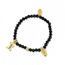 Disney Couture Sale! Minnie Mouse Blk Beaded Bracelet Yellow Gold Plated RRP $59