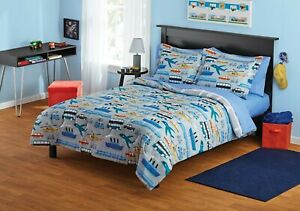 Transportation Vehicle-themed 5 or 7 piece bedding set bed in a bag Twin & Full