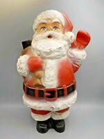 "Vintage ZEHO Western Germany Hard Rubber 15"" Santa Claus w/Glass Eyes Christmas"
