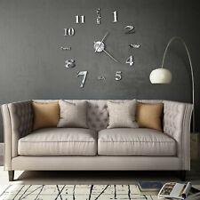Modern 3D Wall Clock High Gloss Silver DIY Size Home Office Decoration 100cm