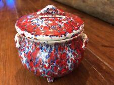 "Red White Blue Splatter Ware Glazed Pottery ""Pot Belly Change Bank"" 3.75"" Tall"
