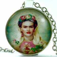 New Frida Kahlo Necklace Sacred Heart Pendant - Silver  j