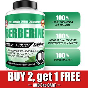 Berberine HCL 1200mg Glucose Metabolism Health Cholesterol Blood Sugar Support