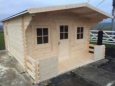 Log Cabin 6 by 4 meters, inc 1 meter balcony and, felt roof shingles, made in uk