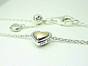 Authentic Pandora #399399C00-45cm Domed Golden Heart Collier Necklace w/14K Gold