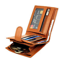 Mens RFID BLOCKING Real Leather Wallet Credit Card Holder Zip Coin Purse 42 Tan