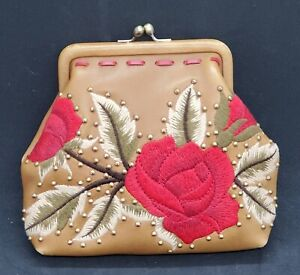 Isabella Fiore Embroidered Rose Crossover Purse