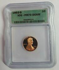 1993-S Proof Lincoln Memorial Cent ICG PR 70 DCAM