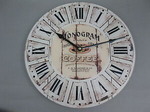 Große Wanduhr 30 cm Nostalgie Uhr Antikstil  Coffie