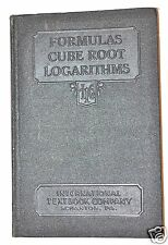 FORMULAS, CUBE ROOT, LOGARITHMS by Staff 1938 edition #RB135 practical  math