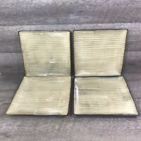 Threshold BAMBOO Square Dinner Plates Stoneware Tan Brown Set of 4