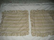 Ralph Lauren Chaps  2 Striped Ruffled 20x20 Square Throw Pillow Covers