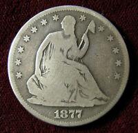 1877-S SEATED LIBERTY HALF DOLLAR.