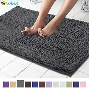 ITSOFT Non Slip Shaggy Chenille Bath Mat for Bathroom Rug Water Absorbent Carpet