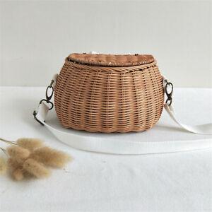 Children Bicycle Basket Handmade Rattan Wicker Bag Storage Basket Backpack Gift