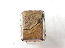 Sterling Silver .925 21mm x  28mm Rectangular Light Tan Jasper Ring Size 7