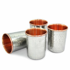 Hammered Tumbler 300 Ml Health yoga Copper Set -4 Water Cup Silver Polished New
