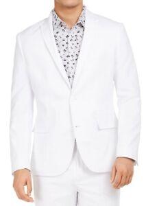 INC Mens Suit Jacket White Large L Slim Fit Stretch Peak Lapel Blazer $139 004